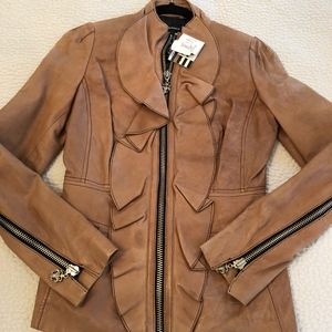 Ruffled Leather Moto Jacket